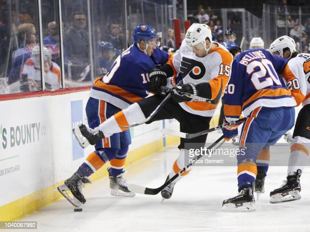 Noah Dobson of the New York Islanders skates against the Philadelphia Flyers at the Barclays Center on September 18 2018 in the Brooklyn borough of...