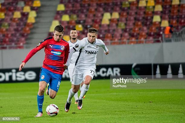 Jan Kovarik of FC Viktoria Plzen and Alexandru Stan of FC Astra Giurgiu during the UEFA Europa League 20162017 Group E game between FC Astra Giurgiu...