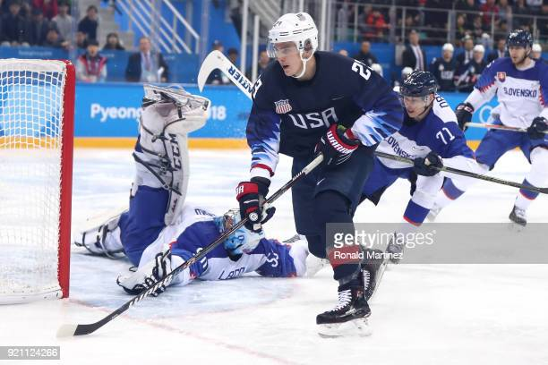 Jan Laco of Slovakia tends goal against Troy Terry of the United States in the second period during the Men's Playoffs Qualifications game on day...