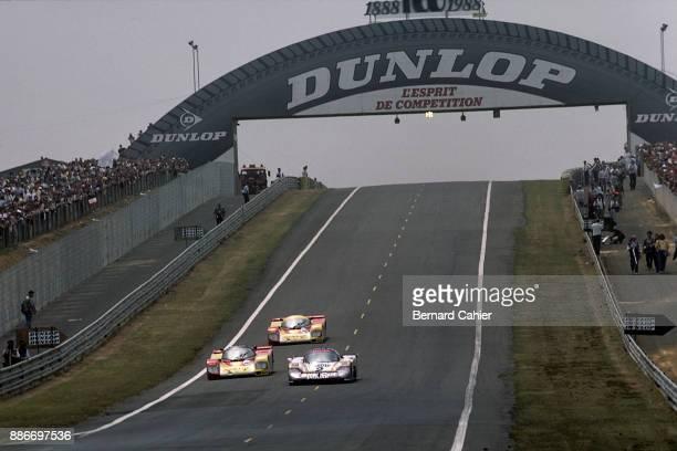 Jan Lammers HansJoachim Stuck Jaguar XJR9LM488 Porsche 962C 24 Hours of Le Mans Le Mans 12 June 1988 Battle royal for the victorious Jaguar XJR9...
