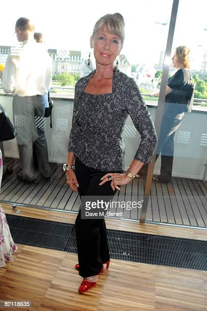 Jan Leeming wearing ruby slippers attends the Swarowski pre party to the opening night of The Wizard of Oz at the Royal Festival Hall on July 29 2008...