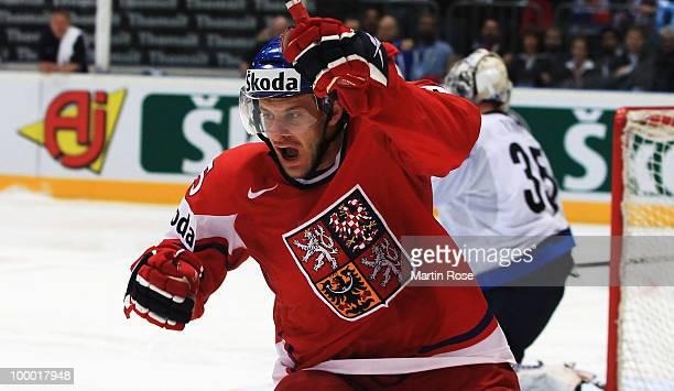 Jan Marek of Czech Republic celebrates after he scored his team's 2nd goal during the IIHF World Championship quarter final match between Finland and...
