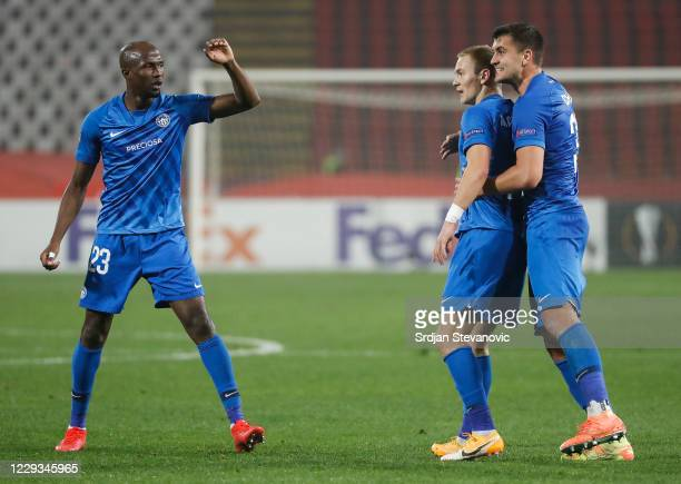 Jan Matousek of Slovan Liberec celebrates after scoring with team mates Kamso Mara and Matej Chalus during the UEFA Europa League Group L stage match...