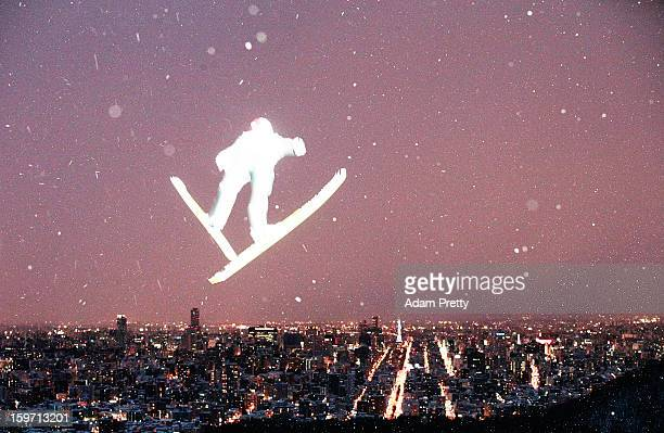 Jan Matura of the Czech Republic flies over Sapporo city on his way to victory during day one of the FIS Men's Ski Jumping World Cup at Okurayama...