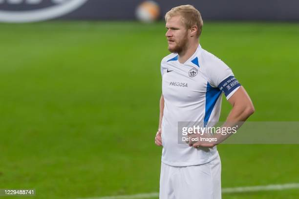 Jan Mikula of FC Slovan Liberec Looks on during the UEFA Europa League Group L stage match between TSG Hoffenheim and FC Slovan Liberec at...