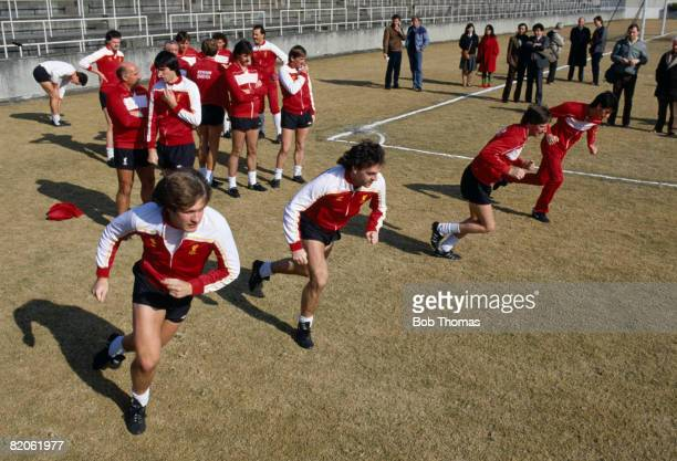 Jan Molby John Wark Ronnie Whelan and Ian Rush leading the Liverpool training session in Tokyo prior to their World Club Championship match against...