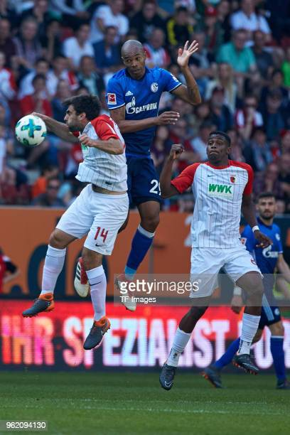 Jan Moravek of Augsburg Naldo of Schalke and Sergio Cordova of Augsburg controls the ball during the Bundesliga match between FC Augsburg and FC...