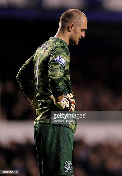 Jan Mucha of Everton looks dejected during the Carling Cup Fourth Round match between Everton and Chelsea at Goodison Park on October 26 2011 in...