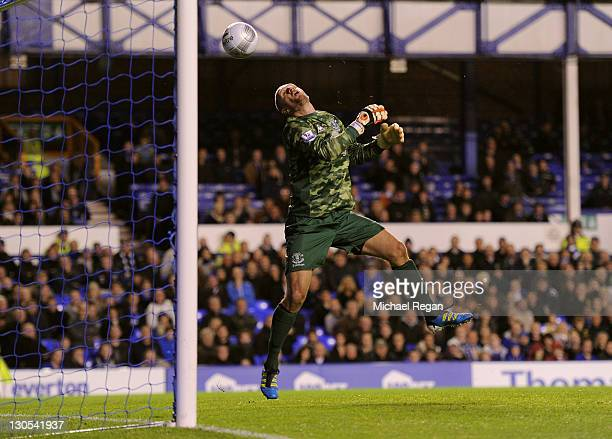 Jan Mucha of Everton watches the lob of Salomon Kalou of Chelsea head for the back of the net for the opening goal during the Carling Cup Fourth...