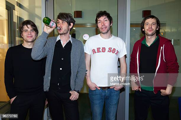 Jan Mueller, Dirk von Lowtzow, Rick McPhail, Arne Zank of Tocotronic pose backstage at Radio Sputnik on January 29, 2010 in Halle, Germany.