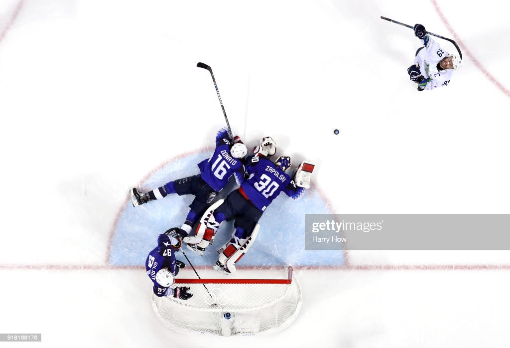 Jan Mursak #39 of Slovenia celebrates after scoring the game winning goal against Ryan Zapolski #30 of the United States in overtime of the Men's Ice Hockey Preliminary Round Group B game on day five of the PyeongChang 2018 Winter Olympics at Kwandong Hockey Centre on February 14, 2018 in Gangneung, South Korea.
