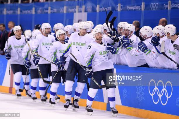 Jan Mursak of Slovenia celebrates after scoring the tying goal against Ryan Zapolski of the United States in the third period during the Men's Ice...