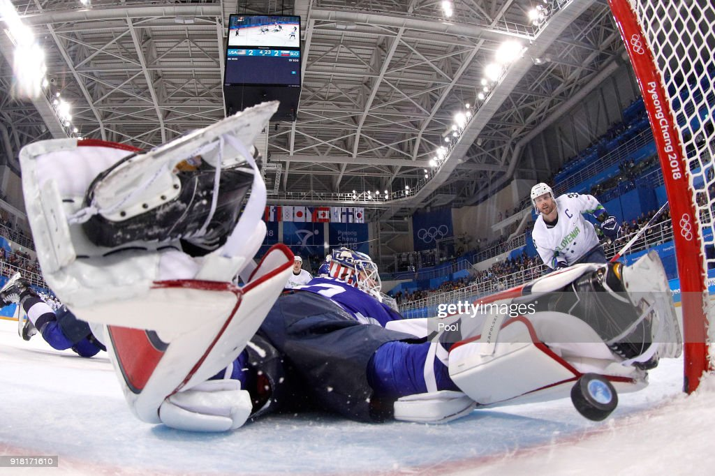 Jan Mursak #39 of Slovenia scores the game winning goal against Ryan Zapolski #30 of the United States in overtime of the Men's Ice Hockey Preliminary Round Group B game on day five of the PyeongChang 2018 Winter Olympics at Kwandong Hockey Centre on February 14, 2018 in Gangneung, South Korea.