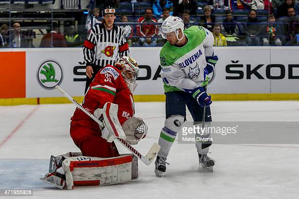 Jan Mursak of Slovenia tries to score against Kevin Lalande goalkeeper of Belarus during the IIHF World Championship group B match between Belarus...