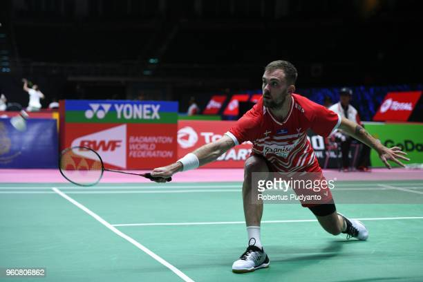 Jan O Jorgensen of Denmark competes against Adel Hamek of Algeria during Preliminary Round on day two of the BWF Thomas Uber Cup at Impact Arena on...