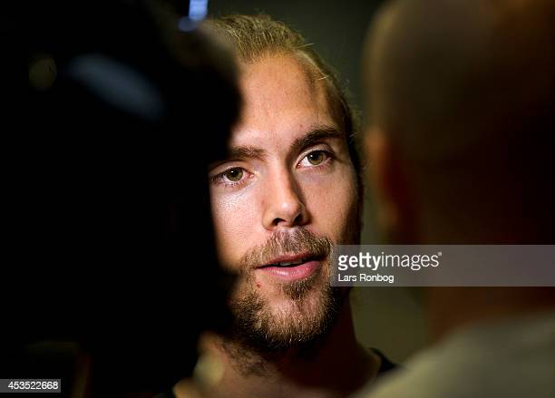Jan O Jorgensen speaks to media after the Danish National Badminton Team training ahead of the Badminton World Championships at Brondby Hallen on...