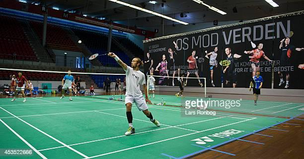 Jan O Jorgensen training during the Danish National Badminton Team training ahead of the Badminton World Championships at Brondby Hallen on August 12...