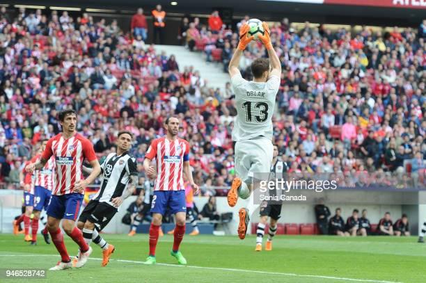 Jan Oblak #13 of Atletico de Madrid during the La Liga match between Club Atletico Madrid and Levante at Wanda Metropolitano on April 15 2018 in...