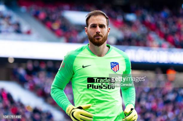 Jan Oblak #13 of Atletico de Madrid in action during the La Liga match between Club Atletico Madrid and Levante at Wanda Metropolitano on January 13...