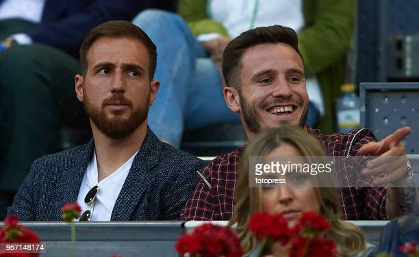 Jan Oblak and Saul Niguez attend day six of the Mutua Madrid Open at La Caja Magica on May 10 2018 in Madrid Spain
