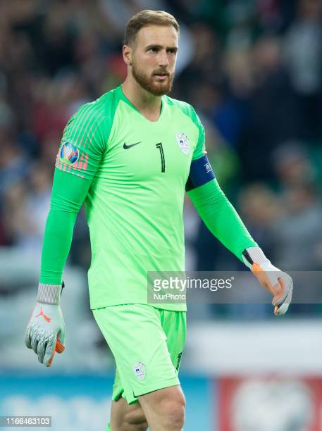 Jan Oblak during the UEFA Euro 2020 qualifier between Slovenia and Poland at Stadion Stozice on September 6, 2019 in Ljubljana, Slovenia.