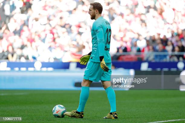 Jan Oblak of Atletico de Madrid controls the ball during the Liga match between Club Atletico de Madrid and Sevilla FC at Wanda Metropolitano on...