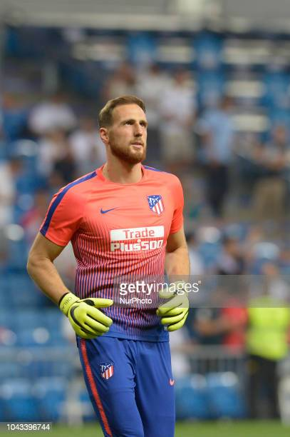 Jan Oblak of Atletico de Madrid during a match between Real Madrid vs Atletico de Madrid for La Liga Española at Santiago Bernabeu Stadium on...