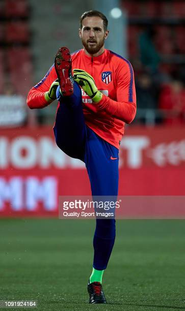 Jan Oblak of Atletico de Madrid during the pre match warm up before the Copa del Rey Round of 16 match between Girona FC and Atletico de Madrid at...