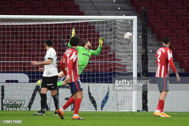 Jan Oblak of Atletico de Madrid fails to save a shot from Uroc Racic of Valencia leading to the first goal for Valencia during the La Liga Santander...