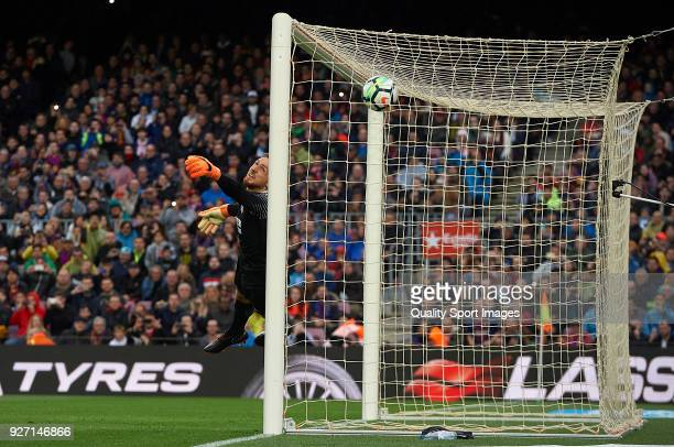 Jan Oblak of Atletico de Madrid fails to save Lionel Messi's opening goal during the La Liga match between FC Barcelona and Atletico de Madrid at...