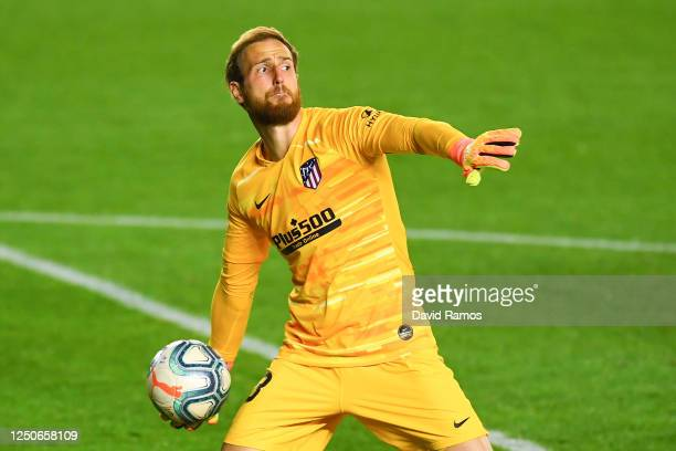 Jan Oblak of Atletico de Madrid in action during the Liga match between CA Osasuna and Club Atletico de Madrid at El Sadar on June 17, 2020 in...