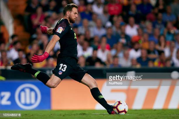 Jan Oblak of Atletico de Madrid kicks the ball during the La Liga match between Valencia CF and Club Atletico de Madrid at Mestalla on August 20 2018...