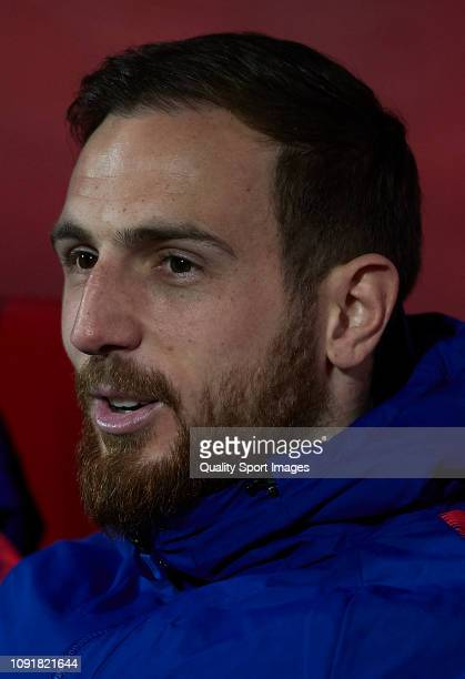 Jan Oblak of Atletico de Madrid looks on a prior before the Copa del Rey Round of 16 match between Girona FC and Atletico de Madrid at Montilivi...