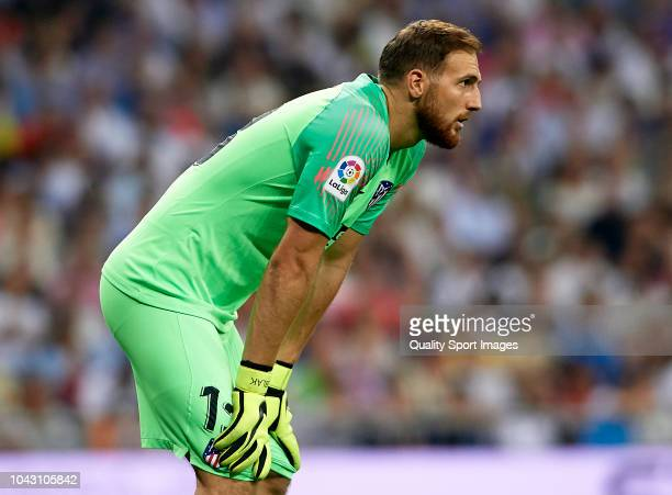 Jan Oblak of Atletico de Madrid looks on during the La Liga match between Real Madrid CF and Club Atletico de Madrid at Estadio Santiago Bernabeu on...