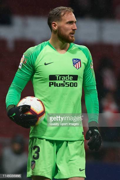 Jan Oblak of Atletico de Madrid looks on during the La Liga match between Club Atletico de Madrid and Valencia CF at Wanda Metropolitano on April 24...