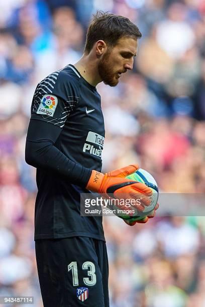 Jan Oblak of Atletico de Madrid looks on during the La Liga match between Real Madrid and Atletico Madrid at Estadio Santiago Bernabeu on April 8...