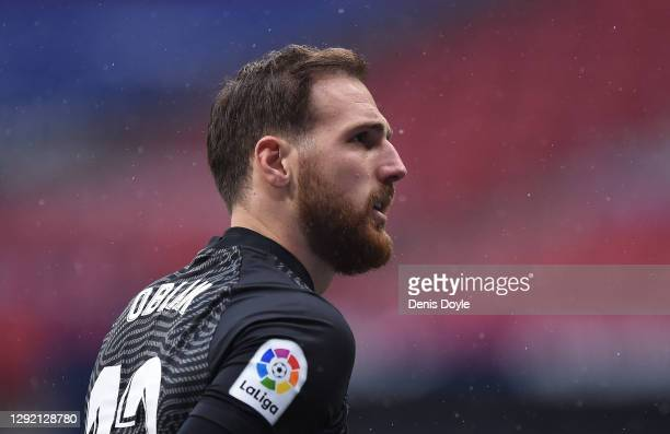 Jan Oblak of Atletico de Madrid looks on during the La Liga Santander match between Atletico de Madrid and Elche CF at Estadio Wanda Metropolitano on...