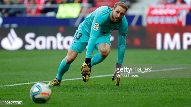 Jan Oblak of Atletico de Madrid looks on during the Liga match between Club Atletico de Madrid and Sevilla FC at Wanda Metropolitano on March 7 2020...