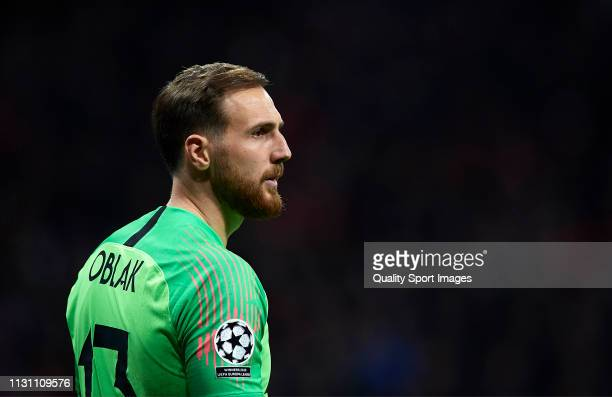 Jan Oblak of Atletico de Madrid looks on during the UEFA Champions League Round of 16 First Leg match between Club Atletico de Madrid and Juventus at...