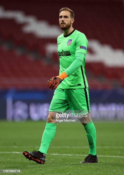 Jan Oblak of Atletico de Madrid looks on during the UEFA Champions League Group A stage match between Atletico de Madrid and RB Salzburg at Estadio...