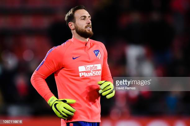 Jan Oblak of Atletico de Madrid looks on prior to the Copa del Rey Round of 16 match between Girona FC and Atletico Madrid at Montilivi Stadium on...