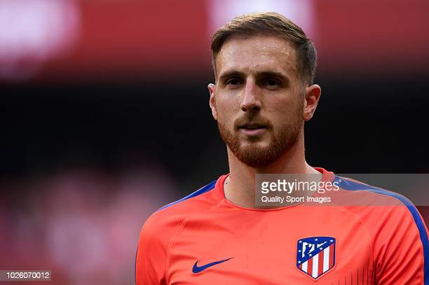Jan Oblak of Atletico de Madrid looks on prior to the La Liga match between Club Atletico de Madrid and Rayo Vallecano de Madrid at Wanda...