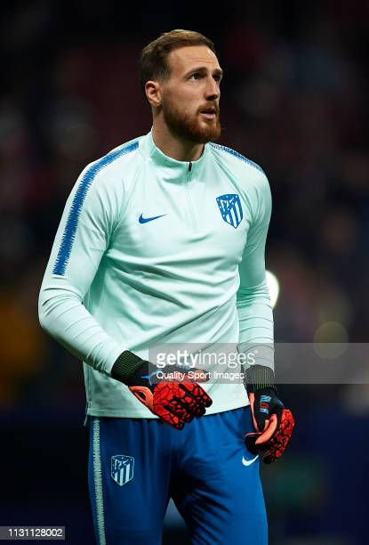 Jan Oblak of Atletico de Madrid looks on prior to the UEFA Champions League Round of 16 First Leg match between Club Atletico de Madrid and Juventus...