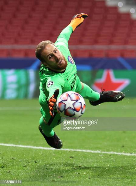 Jan Oblak of Atletico de Madrid makes a save during the UEFA Champions League Group A stage match between Atletico Madrid and RB Salzburg at Estadio...