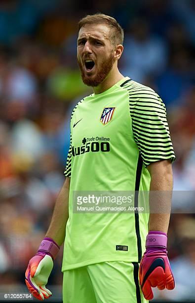 Jan Oblak of Atletico de Madrid reacts during the La Liga match between Valencia CF and Atletico de Madrid at Mestalla Stadium on October 02 2016 in...