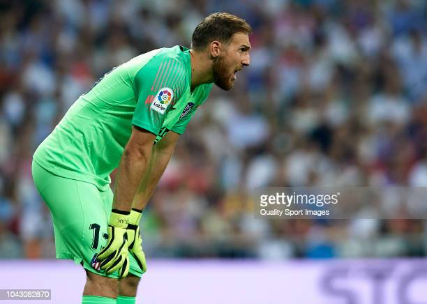 Jan Oblak of Atletico de Madrid reacts during the La Liga match between Real Madrid CF and Club Atletico de Madrid at Estadio Santiago Bernabeu on...