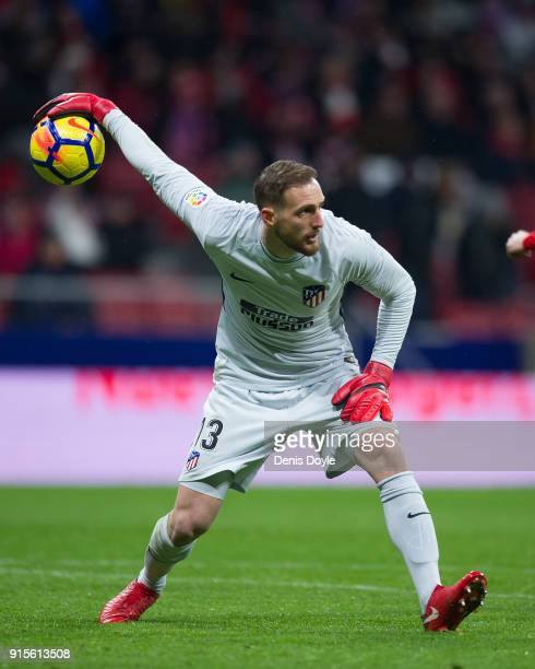 Jan Oblak of Atletico de Madrid throws the ball during the La Liga match between Atletico Madrid and Valencia at Wanda Metropolitano stadium on...