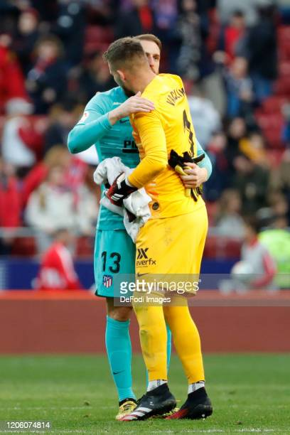Jan Oblak of Atletico de Madrid Tomas Vaclik of Sevilla FC gestures during the Liga match between Club Atletico de Madrid and Sevilla FC at Wanda...