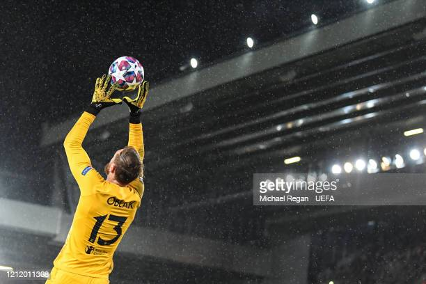 Jan Oblak of Atletico gathers the ball during the UEFA Champions League round of 16 second leg match between Liverpool FC and Atletico Madrid at...