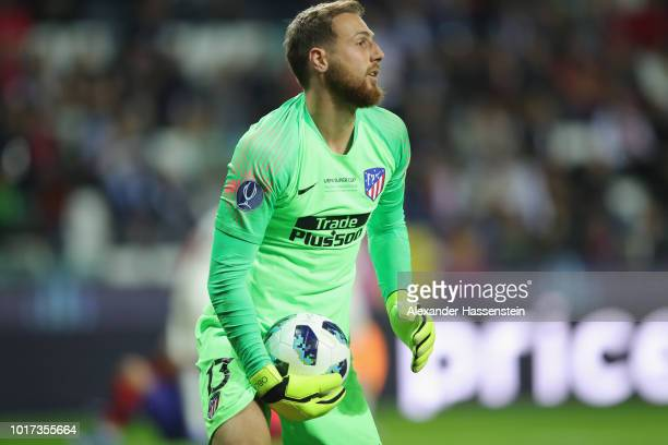 Jan Oblak of Atletico holds the ball during the UEFA Super Cup between Real Madrid and Atletico Madrid at Lillekula Stadium on August 15 2018 in...